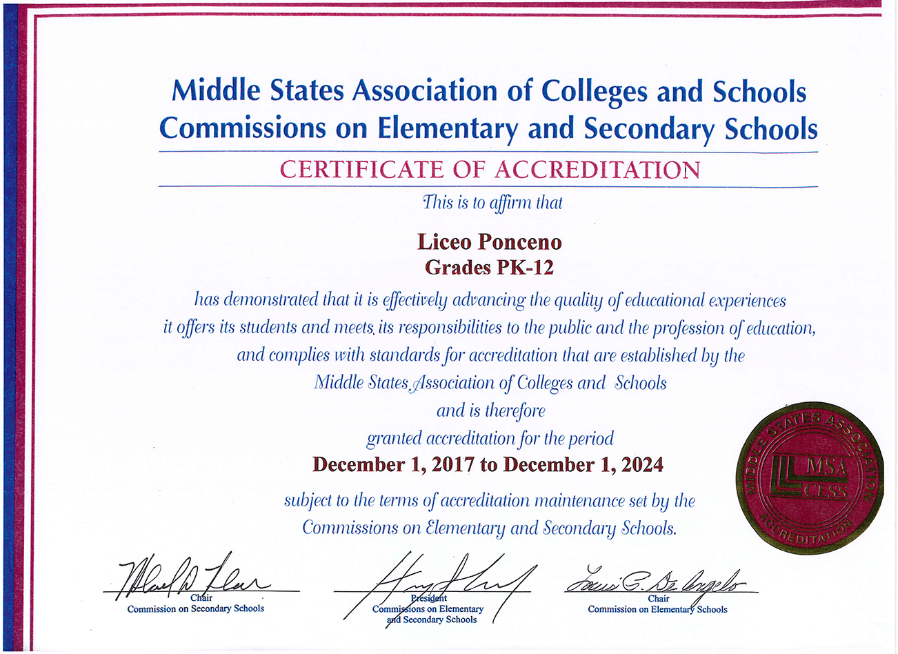 Certificado Middle States Association of Colleges and Secondary Schools